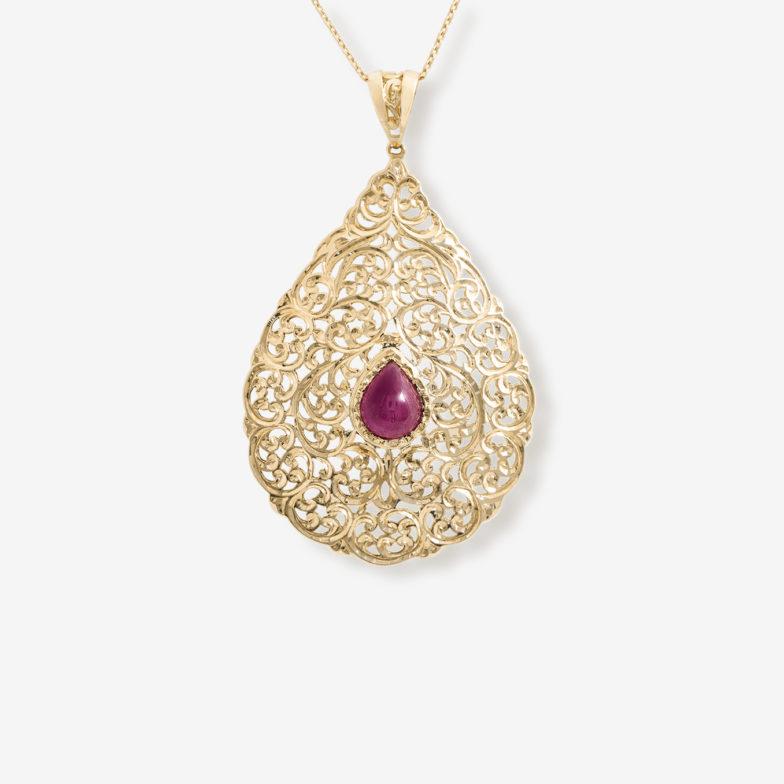 Pendentif beldi traditionnel Mounier et bouvard, or jaune 18 carats et rubis