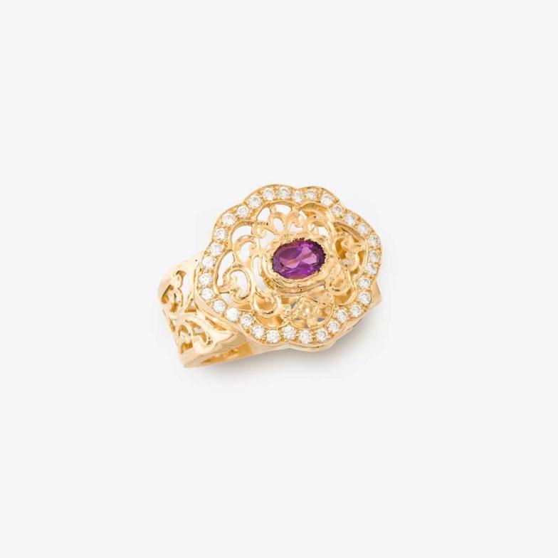 BAGB26-Bague-neo-beldi-en-or-jaune-18-carats-avec-amethyste-et-diamants-Bijouterie-traditionnelle-Maroc-Bijoux-beldi