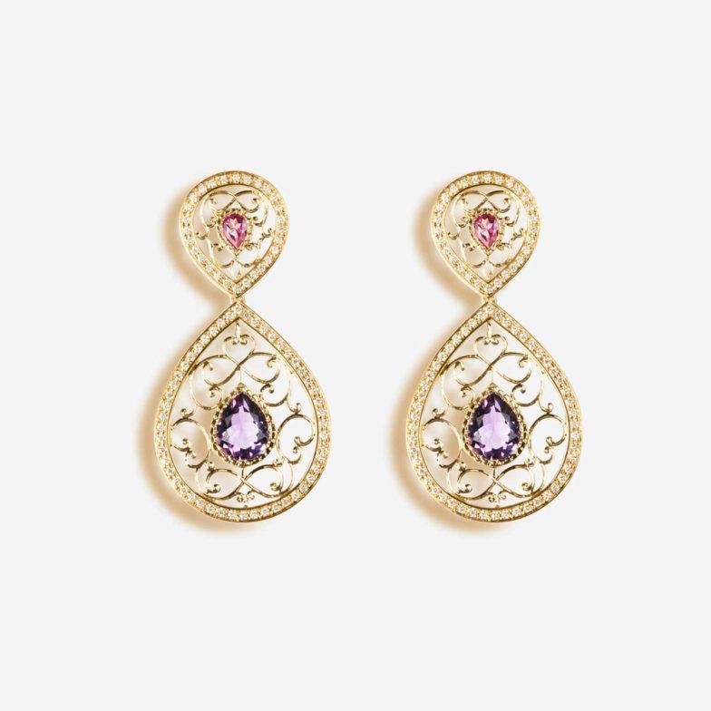 Boucles-doreilles-Neo-Beldi-Or-jaune-18-carats-sertie-damethyste-topaze-rose-et-diamants-GVVS1
