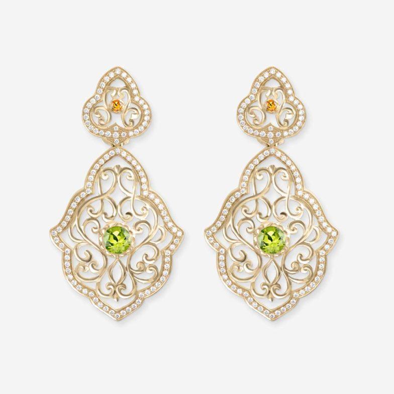 Boucles-doreilles-Neo-Beldi-Or-jaune-18-carats-sertie-de-peridot-citrine-et-diamants-GVVS1-Bijouterie-traditionnelle-maroc