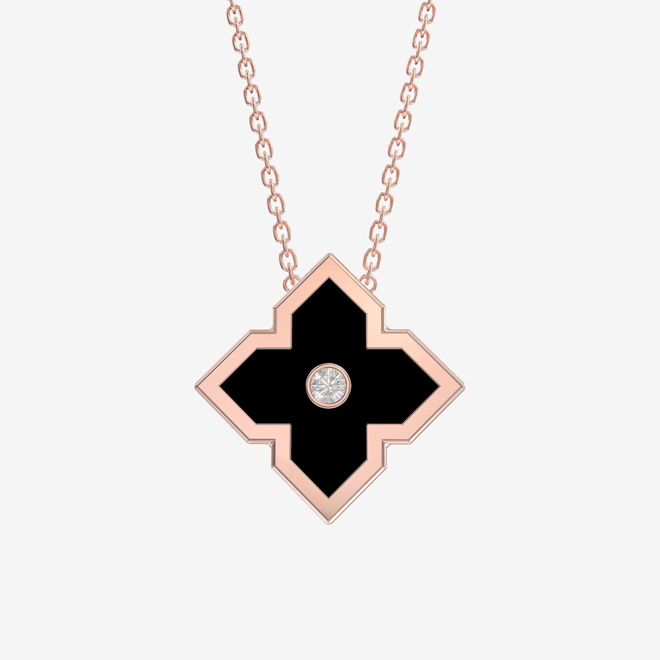 pendantif zeyna or rose céramique noire