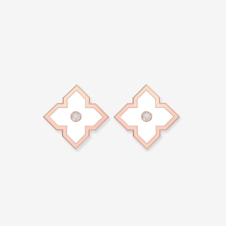 boucles d oreilles or rose ceramique blanche