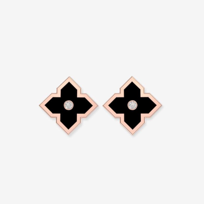 boucles d oreilles or rose ceramique noire